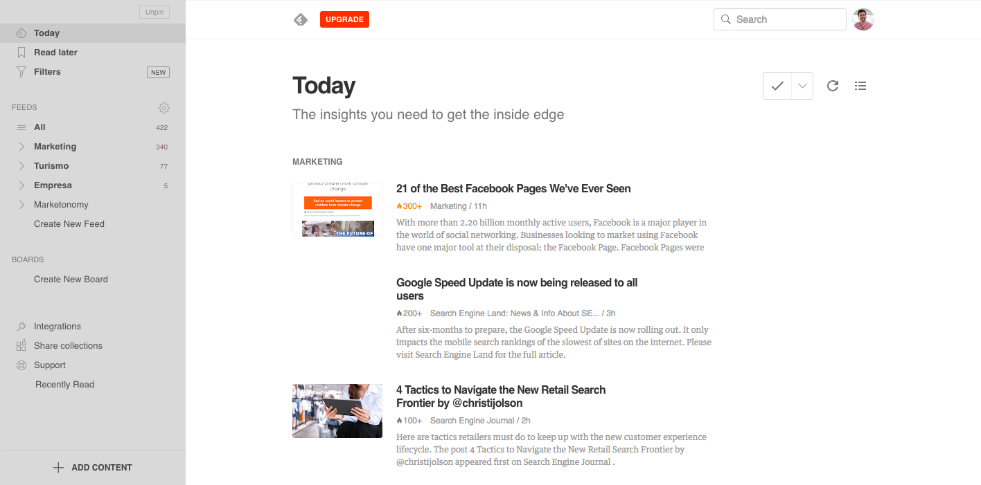 Tus feeds ordenados por popularidad en Feedly