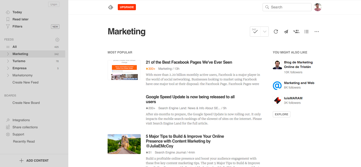 Vista del feed de Marketing que tengo en Feedly