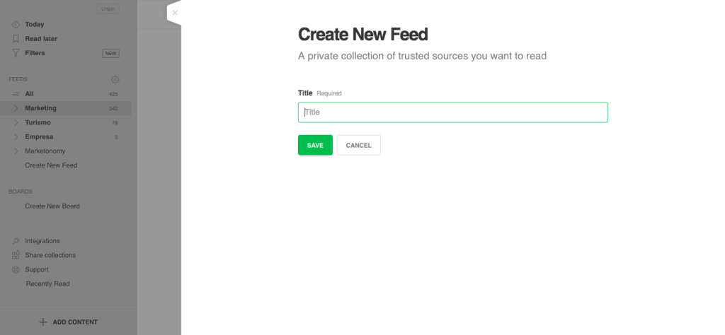 Cómo crear un feed en Feedly